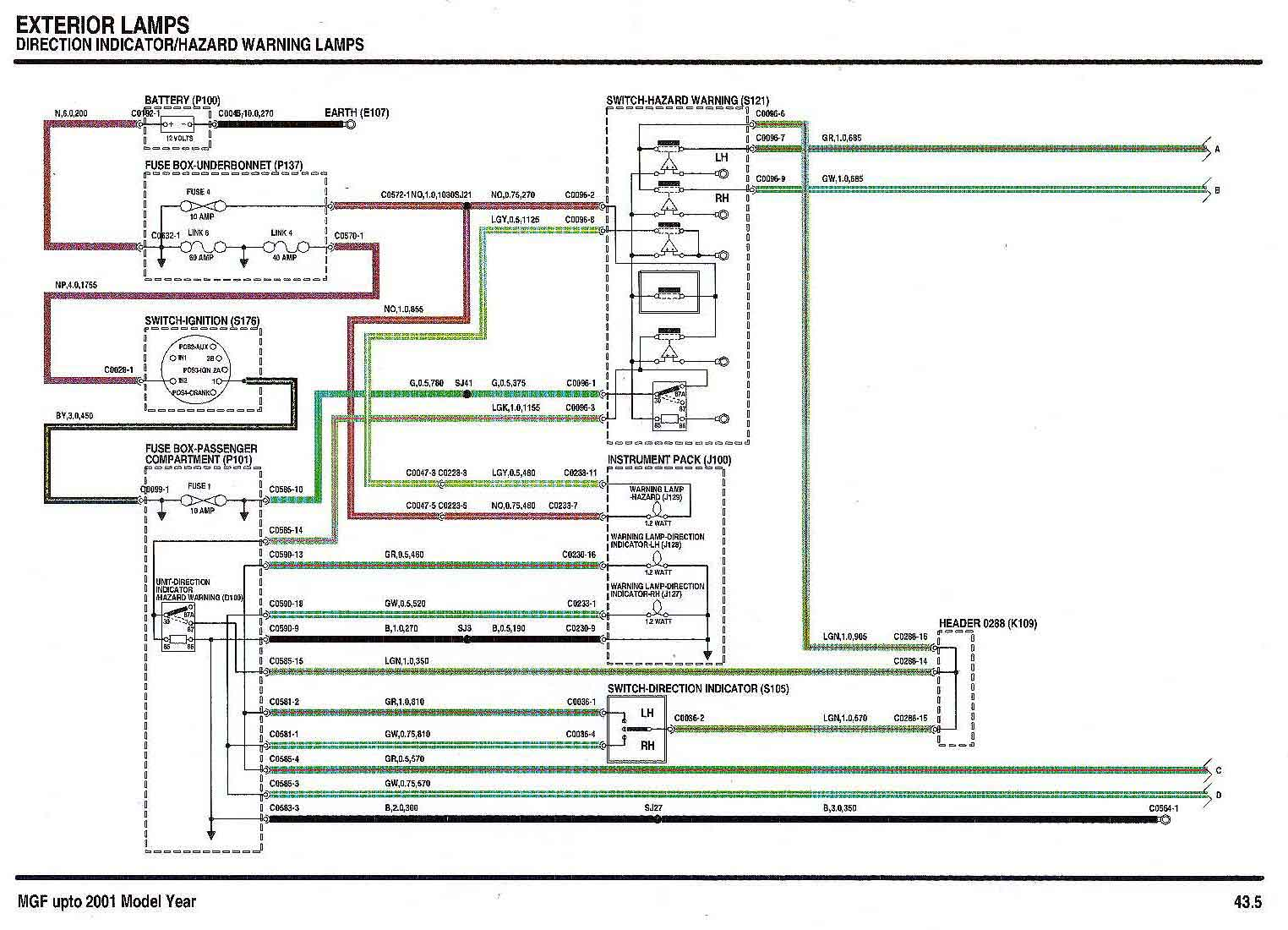 Electrical Circuits Main Fuse Box Wiring Diagram Direction And Hazard Lamps Sheet 1